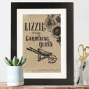 Personalised Vintage Style 'Genius/Queen' Framed Print