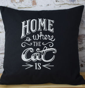 Home Is Where The Cat Is Embroidered Cushion - living room