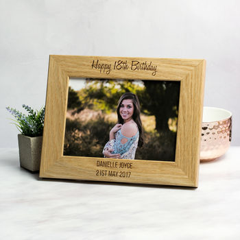 personalised 18th birthday solid oak photo frame by mirrorin ...