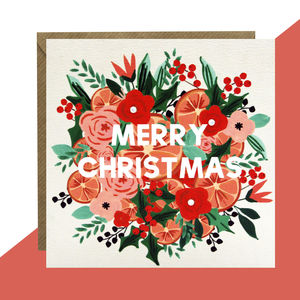 'Merry Christmas' Floral Card Pack Of Five Or Single