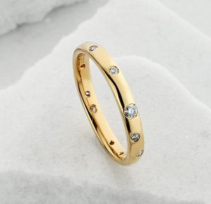 Slim Scattered Diamond Ring - rings