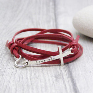 Personalised Cross Leather Ladies Bracelet