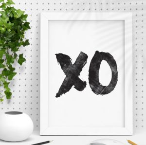 'Xo' Hugs And Kisses Black And White Typography Print - typography