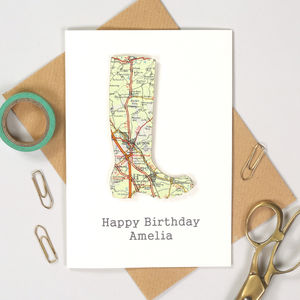 Personalised Map Welly Boot Birthday Card