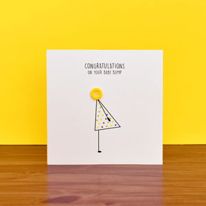 'Baby Bump' Congratulations Button Card - gifts for mums-to-be