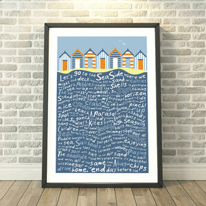 Let's Go To The Seaside Beach Huts Print