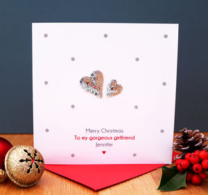 A Personalised Silver Hearts Christmas Card - cards