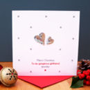 A Personalised Silver Hearts Christmas Card