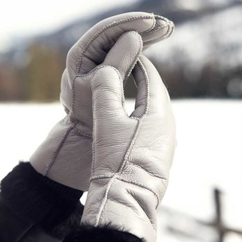 Grey Womens Sheepskin Gloves