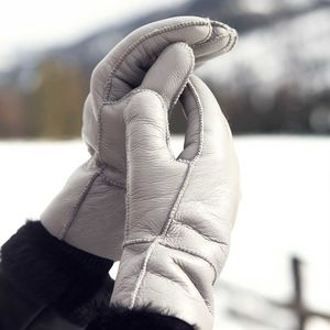 Grey Womens Sheepskin Gloves - womens