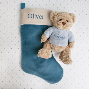 Bertie Bear's Personalised Christmas Stocking In Blue - christmas decorations