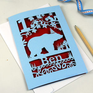 Personalised Papercut Bear Birthday Card