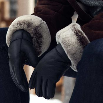 Mens Black Sheepskin Gloves