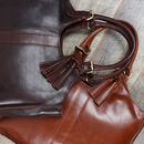 Lainey Leather Handbag Tote With Tassel