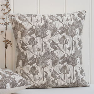 Goldfinches And Teasel Block Printed Cotton Cushions - cushions