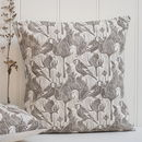 Goldfinches And Teasel Block Printed Cotton Cushions