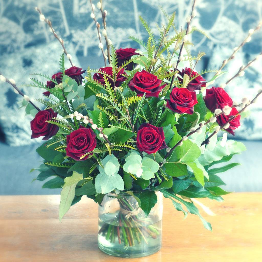 Love struck deluxe red rose garden bouquet by the flower studio - Red garden rose bouquet ...