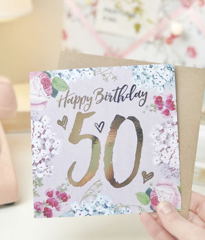50th Birthday Botanical And Gold Greeting Card