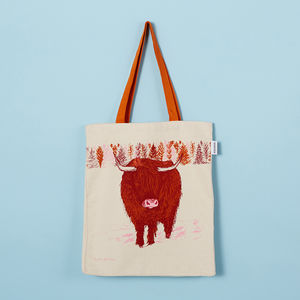 Highland Cow Canvas Tote Bag - shopper bags