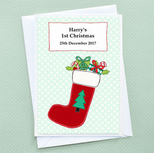 'Christmas Stocking' Baby's 1st Christmas Card - cards & wrap