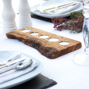 Contemporary Olive Wood Tealight Holders