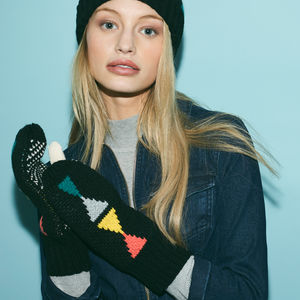 Triangle Mittens Black - womens