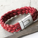 Men's Red Woven Leather Cuff Bracelet