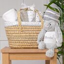 Personalised New Baby Gift Basket With Bashful Bunny