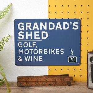 Personalised Grandad's Shed Road Sign - gifts for grandparents