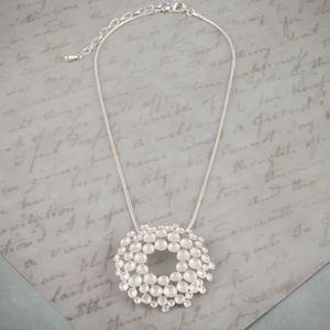 Matt Silver Brushed Flower Pendant Necklace