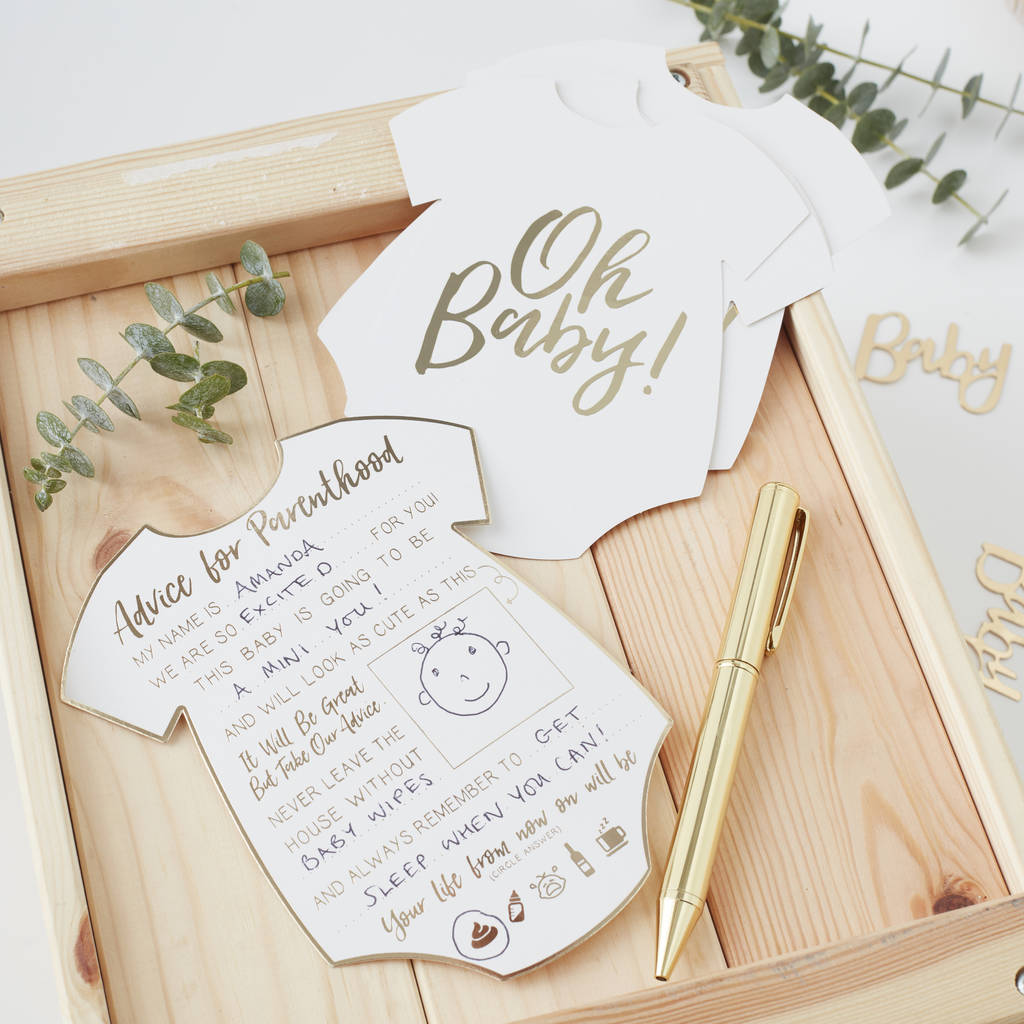 Baby Shower Tips For New Moms: Gold Foiled Baby Shower Advice For Parents Cards By Ginger