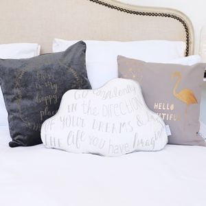 Grey 'This Is My Happy Place' Quote Cushion - winter sale