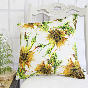 Dhalia Floral Inky Botanical Print Cushion - living room