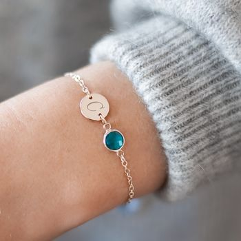 Personalised Initial Disc And Birthstone Bracelet