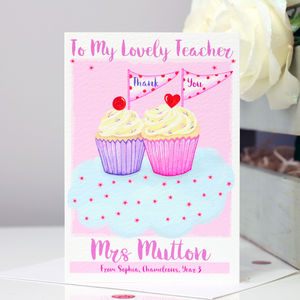 Personalised Cupcake Thank You Teacher Card