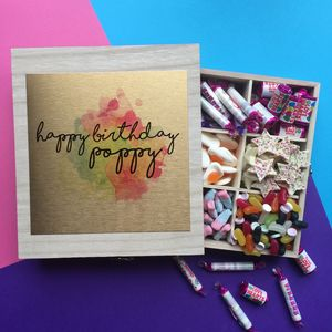 Personalised Birthday Sweet Filled Wooden Box