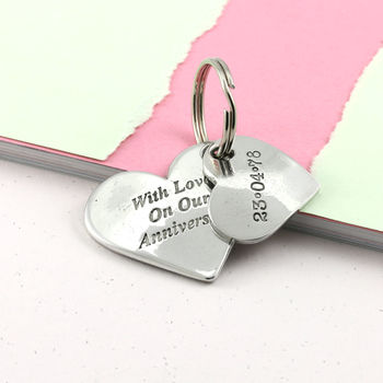 Anniversary Gift Personalised Double Heart Keyring