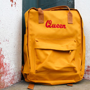 'Queen' Embroidered Day Backpack - backpacks