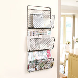 Black Farmhouse Three Tier Mail And Magazine Store - shelves & racks