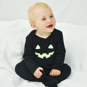 'Pumpkin Face' Halloween Baby Romper Sleepsuit - summer sale