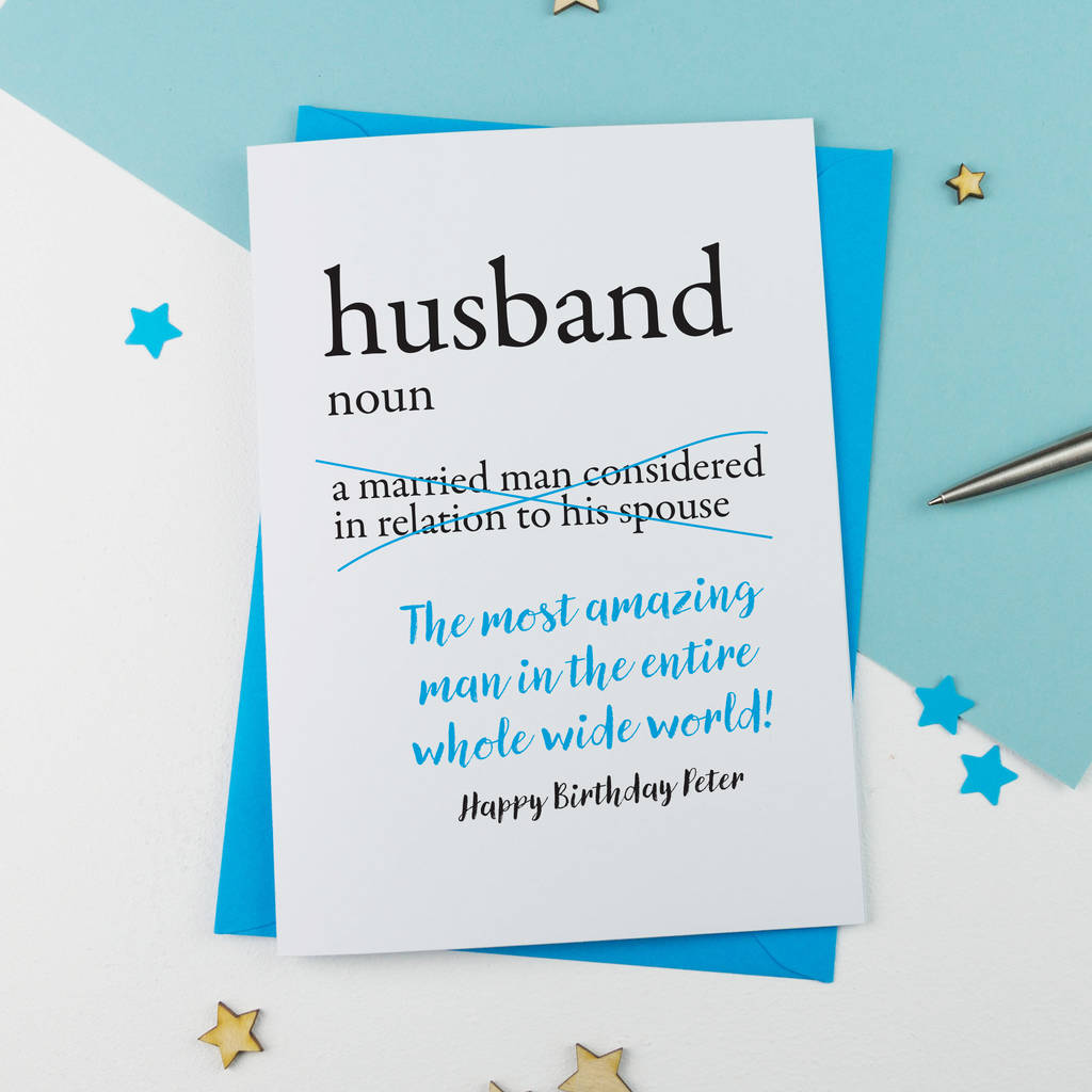 Personalised Dictionary Birthday Card For Husband