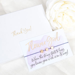 Thank You Flower Girl Gift Boxed Wish Bracelet - bridesmaid cards