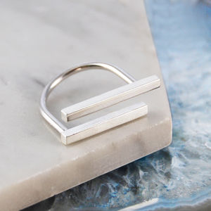 Sterling Silver Geometric Vertical Bar Ring - contemporary jewellery