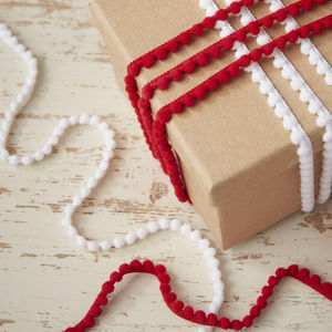 Festive Mini Red And White Pom Pom Ribbon Kit - christmas ribbon