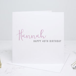 Personalised Happy Birthday Calligraphy Card