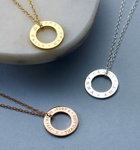 Personalised Circle Message Necklace - personalised jewellery