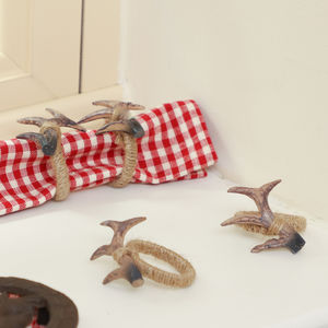 Set Of Four Winter Woodland Antler Jute Napkin Rings - table linen