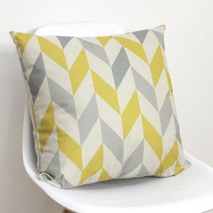 Geometric Yellow And Grey Chevron Cushion Cover - cushions