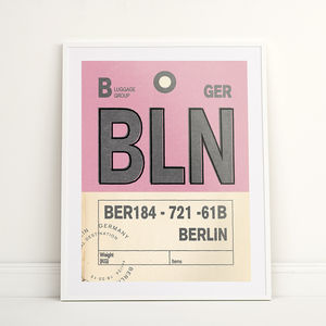 Personalised Berlin Vintage Luggage Tag Print