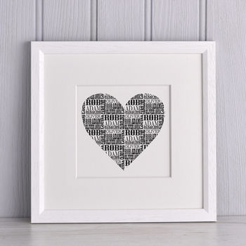 Personalised Names Heart print from Letterfest